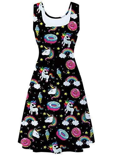 uideazone Damen Ärmelloses Kleid Beiläufiges Sommerkleid Strandkleid Midi Tank Kleid Ausgestelltes Trägerkleid Knielang A Linien Kleid...