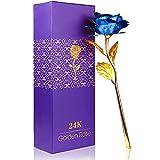 PASDTFB Rosa 24 K Chapado en Oro Rosa, La Flor Rosa Artificial es un Regalo para la Novia y la Esposa, día de San Valentín, día de la Madre, Aniversario, Cumpleaños, Boda (Azul)