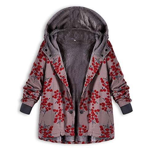 Moonuy Frauen Lange Wintermantel Damen Warm Outwear Blumendruck mit Kapuze Coton Fit Taschen Vintage Oversize Mäntel Trenchcoat