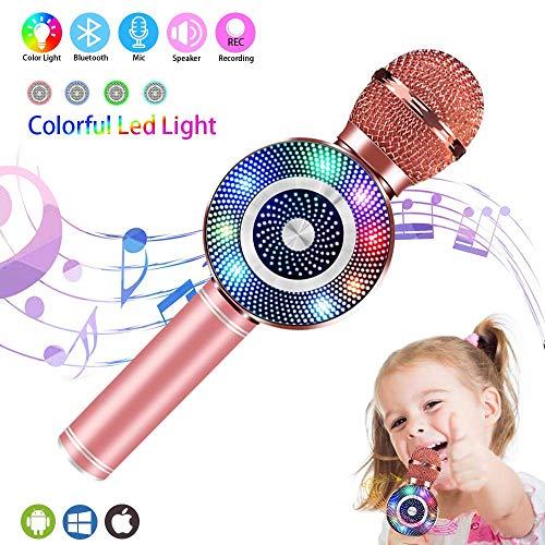 JASZW Handheld-Bluetooth-Mikrofon, kabelloses Karaoke-Mikrofon, mit Lautsprecher RGB-Licht Echo-Mikrofon Tragbarer Karaoke-Player für Kinder Erwachsene Mädchen Home Party Singen Geschenk,1