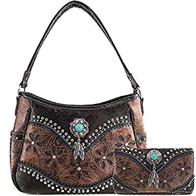 Tooled Leather Laser Cut Concealed Carry Purses Feather Country Western Handbags Shoulder Bags Wallet Set (brown)