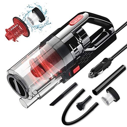 SONRU Car Vacuum Cleaner 7000PA 150W High Power Corded Car Vacuum DC12V Portable Handheld Low Noise Wet Dry Use for Quick Cleaning, Dual Filters, Carrying Bag