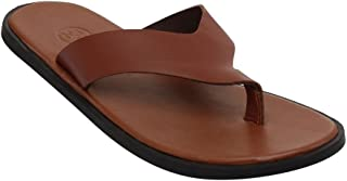 WCFC Men's Brown Leather Open Casual Slipper