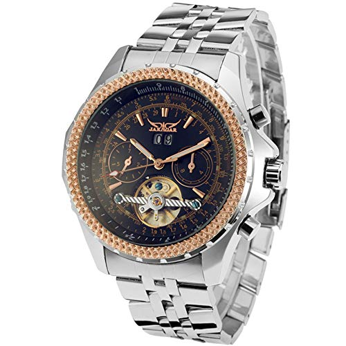 JARAGAR - Reloj de pulsera para hombre, diseño de cara grande, calendario de tres esferas, acero inoxidable, Tourbillon, relojes mecánicos automáticos para hombres Hodinky