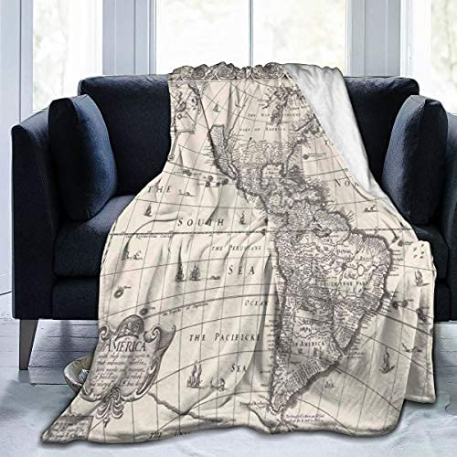 Soft Fleece Throw Blanket Image of Antique Map of America In 1600s World In Medieval Time Ancient Era Theme Home Hotel Bed Couch Sofa Throw Blankets for Couple Kids Adults,60x80