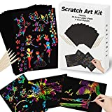 Scratch Paper Art Set for Kids Rainbow Magic Scratch Off Paper Black Scratch Sheets Notes Cards Boards Doodle Pads Childrens Arts and Crafts Projects Kit for Girls Boys Adults Birthday Christmas Gift