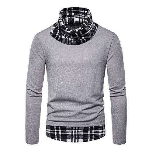 Comaba Men Plaid Pullover Pile Collar Splice Slim Sweaters Gray S