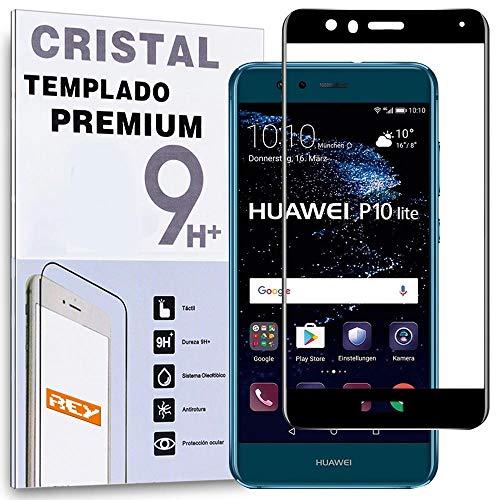 REY Protector de Pantalla Curvo para Huawei P10 Lite, Negro, Cristal Vidrio...