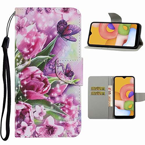 Nadoli Handyhülle für Samsung Galaxy M31S,Schön Rose Blumen Schmetterling Muster Premium Leder Lanyard Magnetverschluss Ständerfunktion Schutzhülle Brieftasche mit Kartenfächer