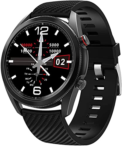 DHTOMC Reloj inteligente HR Actividad Tracker con llamada de voz Bluetooth Bluetooth reloj de fitness con podómetro reloj deportivo de gama alta Fitness Tracker-Negro