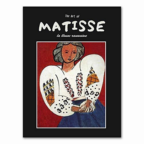 Conjunto de pintura de lienzo de niña francesa Henri Matisse Retro y grabado cuadro abstracto sin marco pintura de lienzo decorativa I 60x80cm