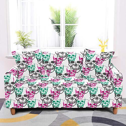 Funda de sofá Antideslizante de Poliéster Spandex Esqueleto Estampado,Multicolor Funda elástica Antideslizante Protector Cubierta de Muebles para sofá de 1 plazas(1 Funda de Almohada)