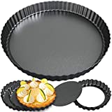 Tart Pan Set of 5 by Zerodish - Non stick 9 Inch and 4 Inch Mini Tart Pans with Removable Bottom - Extra Thick Tart Pans with Loose Bottom Ideal for Baking Pies, Tarts, Quiches and Pans
