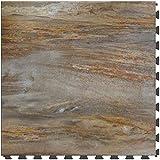 ITtile - Stonecreek LVT Collection 20' x 20' Interlocking Vinyl Floor Tiles【6 Pack】(Petrified Wood)