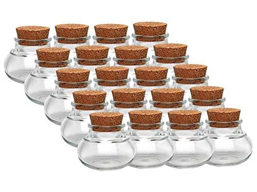 Kruidenpotjes, set met kurk, 24 stuks, inhoud 40 ml, mini-buikzaam, rond, hoogwaardig glas, glazen potje voor zout, peper, zonnebloempitten, korfpitten, kandis bonbons kurkglaasjes
