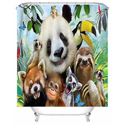 X-Labor Tier Motiv Duschvorhang Wasserdicht Stoff Anti-Schimmel inkl. 12 Duschvorhangringe Waschbar Badewannevorhang 240x200cm Zoo