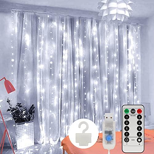 LED Lichtervorhang, Zorara 200 LEDs 3Mx2M USB Lichterkettenvorhang mit 8 Modi Fernbedien IP65 Wasserfest LELichterkette für Schlafzimmer Hochzeit Party Weihnachten Innen und außen Deko (KaltWeiß)
