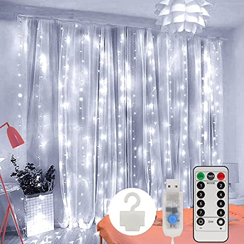 Cortina de Luces, Zorara Cortina de Luces LED Navidad 3m x 2m 200 LED Blanco Frio USB Cortina Luces LED con 8 Modos Control Remoto IP65 Impermeable para Boda Fiesta de Ventana Interior y Exterior