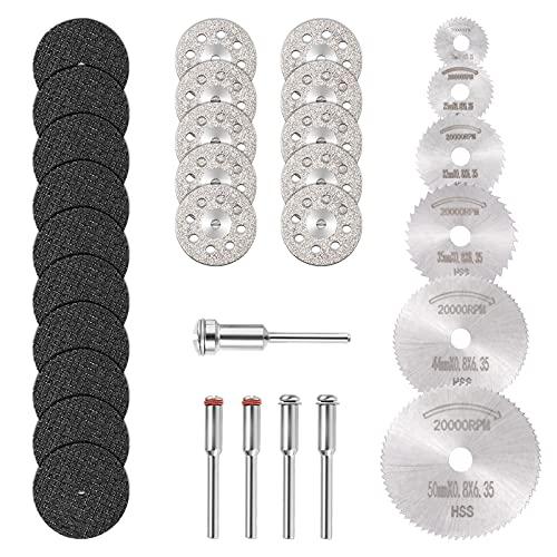 GOXAWEE Mini Disco Corte Diamante & Mini Hoja de Sierra Circular HSS & Mini Disco de Corte de Resina (3mm Mandril)para Cortar Madera Piedra Metal - Paquete de 30 Piezas