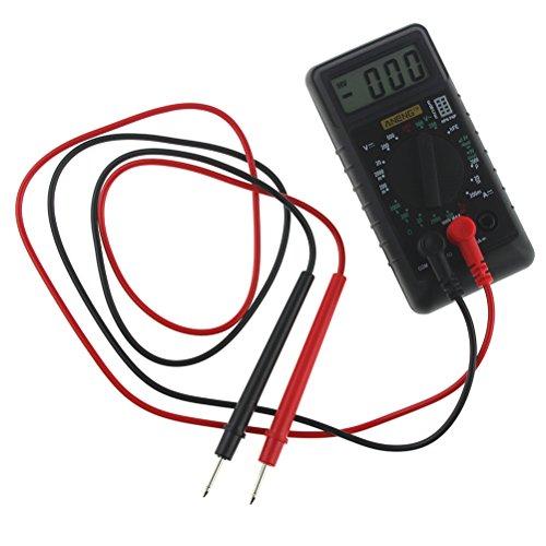 UEETEK Mini Multímetro Digital con zumbador de protección de sobrecarga Voltímetro amperímetro Ohmímetro DC AC LCD Portátil (Negro)