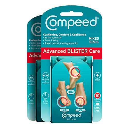 Compeed Advanced Blister Care 10 Count Mixed Sizes Pads (2 Packs), Hydrocolloid Bandages, Heel Blister Patches, Blister on Foot, Blister Prevention & Treatment, Waterproof Cushions, Packaging May Vary
