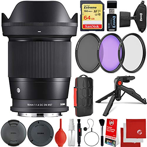 Sigma 16mm f/1.4 DC DN Contemporary Lens Leica L-Mount Bundle with 64GB Extreme Memory Card, 3 Piece Filter Kit, Wrist Strap, Card Reader, Memory Card Case, Tabletop Tripod