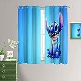 Lilo & Stitch - Cortinas decorativas con ojales térmicos, para sala de estar (55 x 45 pulgadas)