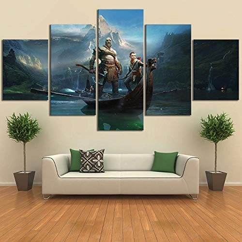 ZDDBD Lienzo decoración del hogar Pintura HD impresión 5 Piezas God of War Kratos Juego Arte de Pared póster Moderno Cuadros imágenes modulares para Sala de Estar