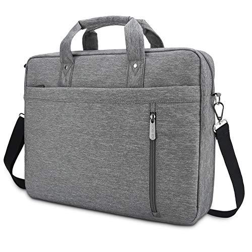 DOB SECHS Borsa per PC portatile da 17 pollici – 17,3 pollici, borsa a tracolla per PC portatile, per lavoro, lavoro, colore: grigio