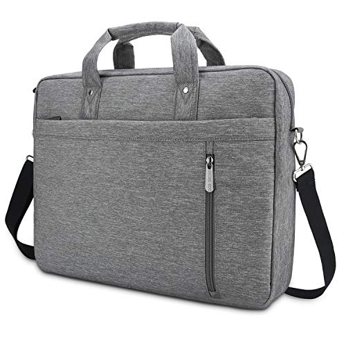 DOB SECHS Laptop Bag Case 16'' 17'' 17.3 Inches Computer Bag Shockproof Briefcase Shoulder Messenger Bag Waterproof Business with Tablet Pocket for Men Women Travel School Lawyer, Gray