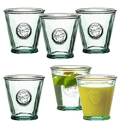 BigDean 6X Trinkgläser Tumbler 250 ml - Made in Spain - Aus 100% Recycling-Glas - Dicke Glasstärke 0,4 cm - Für Cocktails, Softdrinks, Alkohol, Säfte & andere Getränke