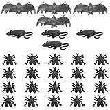 Carnavalife, Pack de 28 (4 Ratas, 4 Murcielagos y 20 Moscas) de Plastico Negro de Miedo para Decoración de Fiesta de Halloween, Complementos de Celebración con Disfraces.