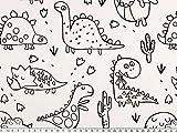 Zanderino ab 1m: Ausmalstoff, Dinos, weiß-schwarz, 150c