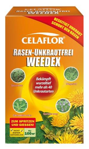 Celaflor Rasen-Unkrautfrei Weedex, Hochwirksamer Unkrautvernichter zur Bekämpfung von schwer bekämpfbaren Unkräutern im Rasen, Konzentrat, 100 ml Flasche