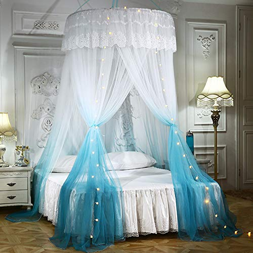 Mengersi Pirncess Bed Canopy for Girls with Lights Round Dome Bed Curtains Mosquito Net Canopy Tent for Kids Girls Adult King Queen Full Bed (Blue and White)