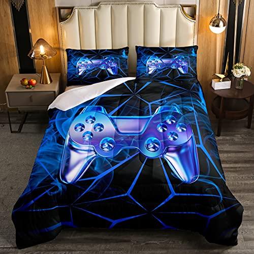 Juego de edredón para videojuegos, juego de cama con control de videojuegos, juego de cama 2 piezas para niños, niñas, moderno jugador, edredón acolchado con 1 funda de almohada, tamaño individual