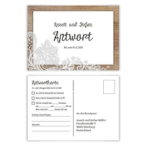30 x Antwortkarte Hochzeit Hochzeitskarten Antwort Postkarte - Rustikal mit weißer Spitze