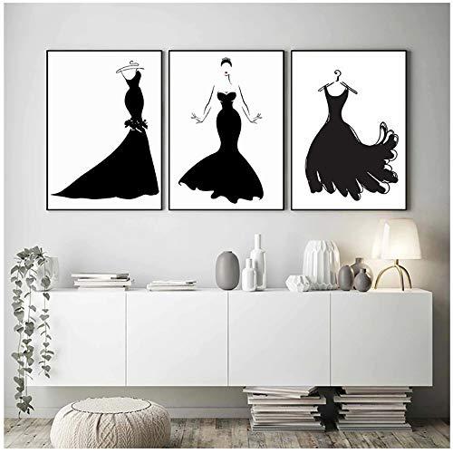 ZHANGSHUAIFFBH muurkunst canvas zwarte jurk schoonheid abstract Nordic poster mode schilderij pop art kleding studio decoratief schilderwerk 60x80cm(23.6