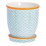 Nicola Spring Macetero de Porcelana con Bandeja recogegotas - Estampado Azul/Naranja - 20cm