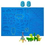 3D Pen Mat, Large Multi-Shaped Silicone 3D Printing Pen Basic Template Printing Mat with 2 Finger Protectors, Gift for 3D Beginners/Kids/Adults (16.4 x 10.9 Inches)