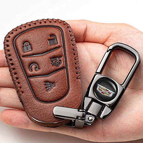 Genuine Leather for Cadillac 5 Buttons leather car key case Entry Remote Smart Key Fob case Cover for 2016-2018 Cadillac CT6, 2017-2018 XT5, 2014-2018 CTS, 2015-2018 XTS SRX ATS key cover ,Accessories