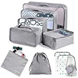 10 Set Packing Cubes Compression Travel Luggage Organizer Waterproof Travel Cubes with Shoes