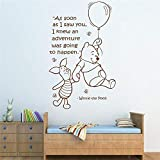 WOVTCP Winnie The Pooh Quote Decal Adventure Time Lettering Wall Decal Sticker Vinyl Balloon Bear Theme Bedroom Nursery Wall Art Home Decor?Black