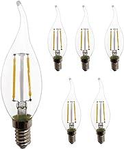 Warmwit 2700K E14 LED Edison kroonluchter wandlamp tafellamp lamp, 200LM, 220V retro kaarsen lont. (2 W, 5 stuks).