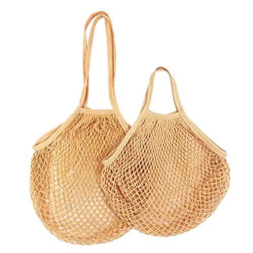 20 Farben Wiederverwendbare Taschen Tragbare Netztasche Obst Gemüse Aufbewahrungsfreundliche Baumwolle Faltbare Netztasche für -S-10x35x38cm, Hellorange 18