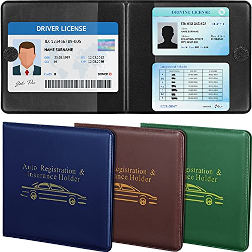 4 Pieces Car Registration and Insurance Card Holder Wallet, Auto Document Wallet Holders for Automobile Truck Motorcycle Boat (Brown, Black)