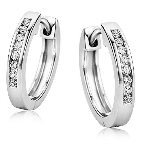 Orovi Pendientes Señora aros en Oro Blanco con Diamantes Talla Brillante 0.11 ct Oro 9 Kt / 375