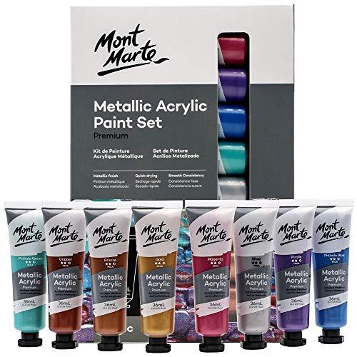 Mont Marte Premium Metallic Acrylic Paint Set, 8 x 1.02oz (36ml) Tubes, 8 Colors, Suitable for Most Surfaces Including Canvas, Card, Paper and Wood