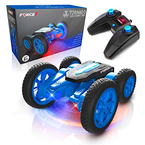 Force1 Tornado LED Remote Control Car for Kids - Double Sided Fast RC Car, 4WD Off-Road Stunt Car with 360 Flips, All Terrain Tires, LEDs, Rechargeable Toy Car Batteries, and Easy Remote