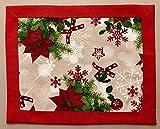 1KDreams Set 2 Tovagliette Natale. Design Raffinato e Moderno. Bordo Rosso. Shabby Chic in Chiave Moderna. Made in Italy. (Set 2 50x40 cm Cornice - Frame)